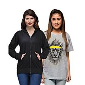 Ace Pack of 2 - Black Hoodie and Grey Cotton Printed T Shirt for Her