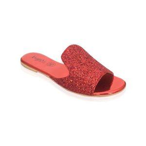 Mojari Red Synthetic Slipper for Women