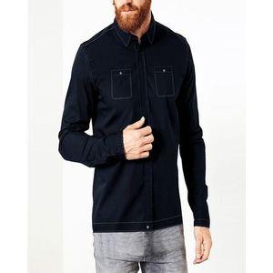 Dark Navy Blue Cotton Jacket For Men