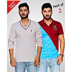 StyleoPACK OF 2 V-NECK SWEATER & CONTRAST POLO T-SHIRT FOR MEN