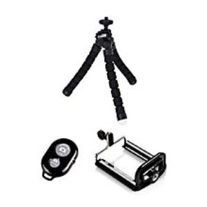 Shop Global Flexible Tripod With Mobile Holder and Shutter - Black