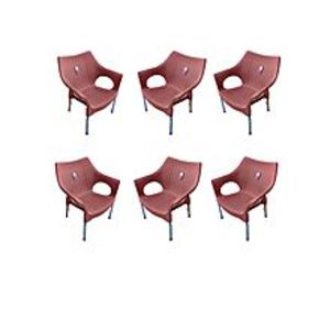 CHIEF(Boss) Set Of 6 Rattan Plastic Chairs - Brown