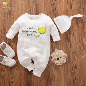 Baby Jumpsuit With Cap Insert pocket money here (WHITE)