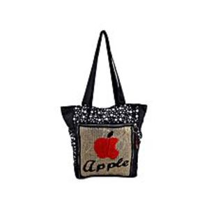 "Asaan Parhai Apple Handbag For School And College - 15X14"" - Black"