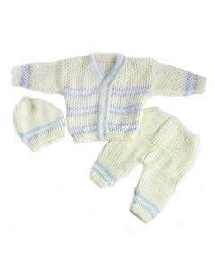 3 Pcs Yellow VNeck Sweater Set for Newborn