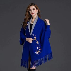 Designer Royal Blue Flower Shawl For Women