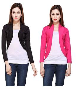 Abdul Collection Pack Of 2 - Lack, Pink Viscose Shrug For Women
