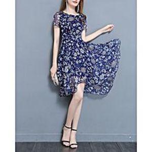 HorizonPrinted Frock Style Cap Sleeve Frock Dress Maxi - Navy Blue