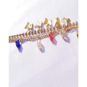 Golden Zircon Studded Anklet For Women