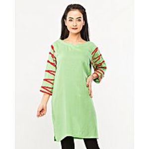 FISHLightgreen Malai Lawn Kurta For Women