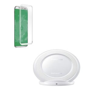 Pack of 2- Samsung S8 Plus Fast Wireless Charger & 4D Tempered Glass White