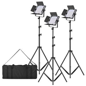 "LED-320A 3pcs LED Video Light Panel 25W Dimmable 340pcs Beads with 197cm/78"" Metal Light Stand/U-Bracket/Barn Door/Filter/Carry Bag for Canon Nikon Sony DSLR Camera Camcorder Studio Photo Lighting"