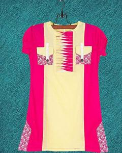 Pink & Yellow Cotton Embroidered Kurta for Girls
