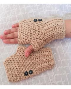 Long Button Style Wool Gloves for Women