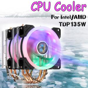 Intelligence Flash DealCPU Cooler 4 Heatpipe 4Pin LED RGB Fans 90mm for LGA  775/1155/1156/1150/1366 AMD