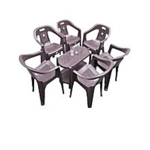 CHIEF(Boss) Set Of 6 Plastic Chairs And Plastic Table - Grey