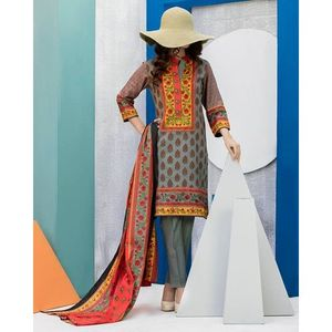 Sage Grey Floral Printed Lawn Suit For Women - 3 Pcs