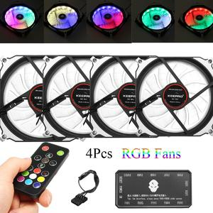 4 Pack Copper Motor Quiet RGB LED PC Computer Case Cooling Fan with Remote Control