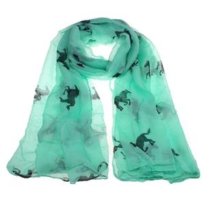 Fashion Women Running Horse Print Long Scarf Shawl Wrap Stole Voile WH