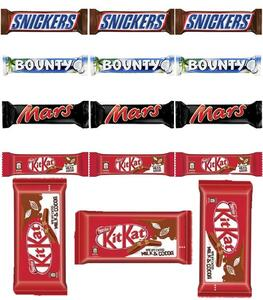 Pack of 15 Chocolates -3 Snickers 50 GM -3 Mars 51 GM -3 Bounty 57 GM -3 Kitkat 4 Finger 41.5 GM -3 Kitkat 2 Finger 20.5 GM