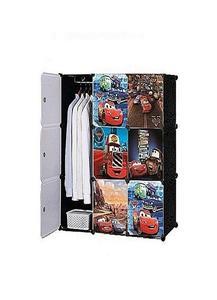 9 Cubes Mcqueen Disney Storage Cabinet Wardrobe Hanging Rod