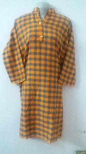 Fresh Winter Orange Check Print Girl's  Acrylic Wool Stitched Kurta top