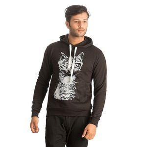 Black Cotton & Wool Geek Cat Printed Hoodie for Men