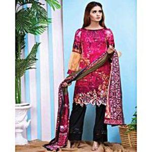 Al Zohaib TextilePurple Lawn Unstitched Suit For Women - 3 Piece