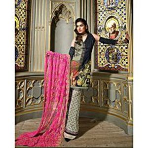Asim JofaBlack Embroidered Unstitched Luxury Lawn 3Pcs Suit for Women