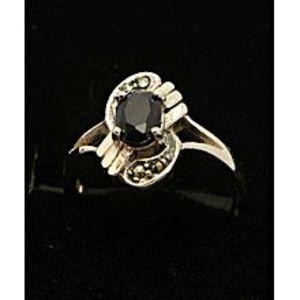 Gilgit BazarSapphire Stone Silver Ring GB(5)4911