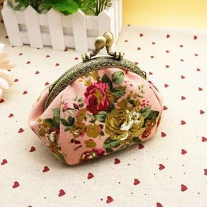 Women Lady Retro Vintage Flower Small Wallet Hasp Purse Clutch Bag BK