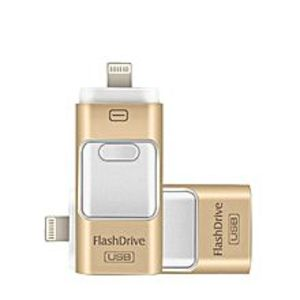 I-flash 128Gb Flash 3 In 1 Usb Flash Drive Phone Otg For Iphone Golden