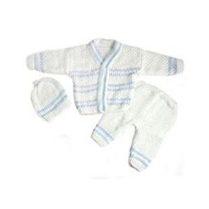 Peekaboo3 Pcs White VNeck Sweater Set for Newborn