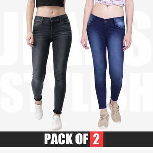 Pack of 2 Skinny Stretchable Jeans For Her