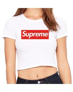 Supreme Box Logo Crop Top T-Shirt for Women