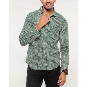 Denizen Green and White Cotton Woven Shirt for Men