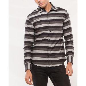 Denizen Grey & Black Cotton Casual Shirt