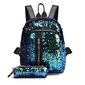 Fashion Girl Sequins School Bag Backpack Travel Shoulder Bag+Clutch Wallet