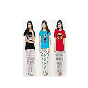 Momo Garments Pack Of 3 Printed T-Shirts And Trousers For Women