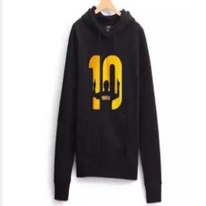 Black Messi 10 Printed Hoodie For Women