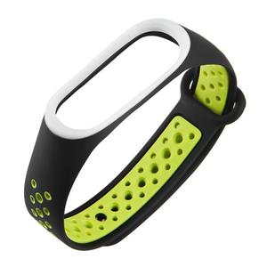 Silicone Porous Breathable Watch Band for Xiaomi Mi Band 3 (Black+Green)