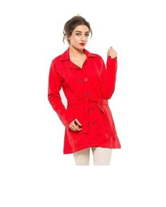 Red Fleece Long Coat With Front Pockets For Women