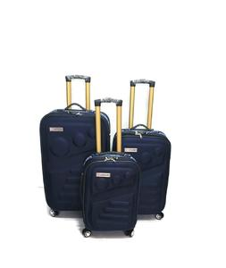 SHOWKOO Luggage Sets 3 Piece Softshell  Double Spinner Wheels / Blue