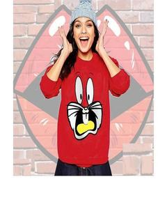 Bugs Bunny Printed Red SweatShirt For Women