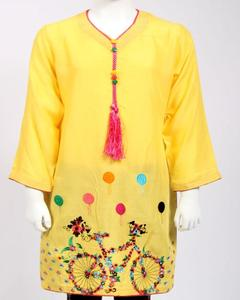 Yellow Embroidered Linen Kurti for Girls