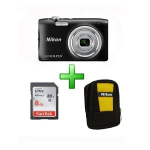 Nikon Coolpix A100 20.1 Megapixel  Digital Camera with 8 GB card & Pouch - Black