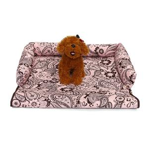 Purism Luxury Pet Sofa Bed Pad Dog Cat Puppy Couch Mat Cosy Kennel Pad Cushion Pink Flower Printed L
