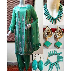 Crystals Pack of 8- Green Chiffon Stitched 4pcs Suit Matching Necklace 8.25 Bracelet 2 Pair Earrings