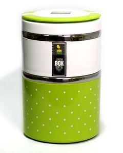 Lajawab 2 Layers Lunch Box - Green & White
