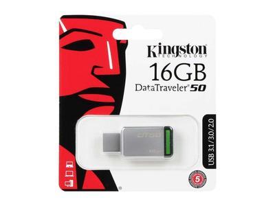 Kingston - DT50 16GB - DataTraveler - USB 3.1/3.0/2.0 - Steel